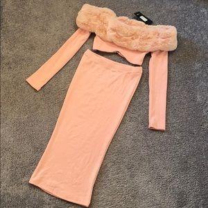 FashionNova Moscow Moves Skirt Set - Blush